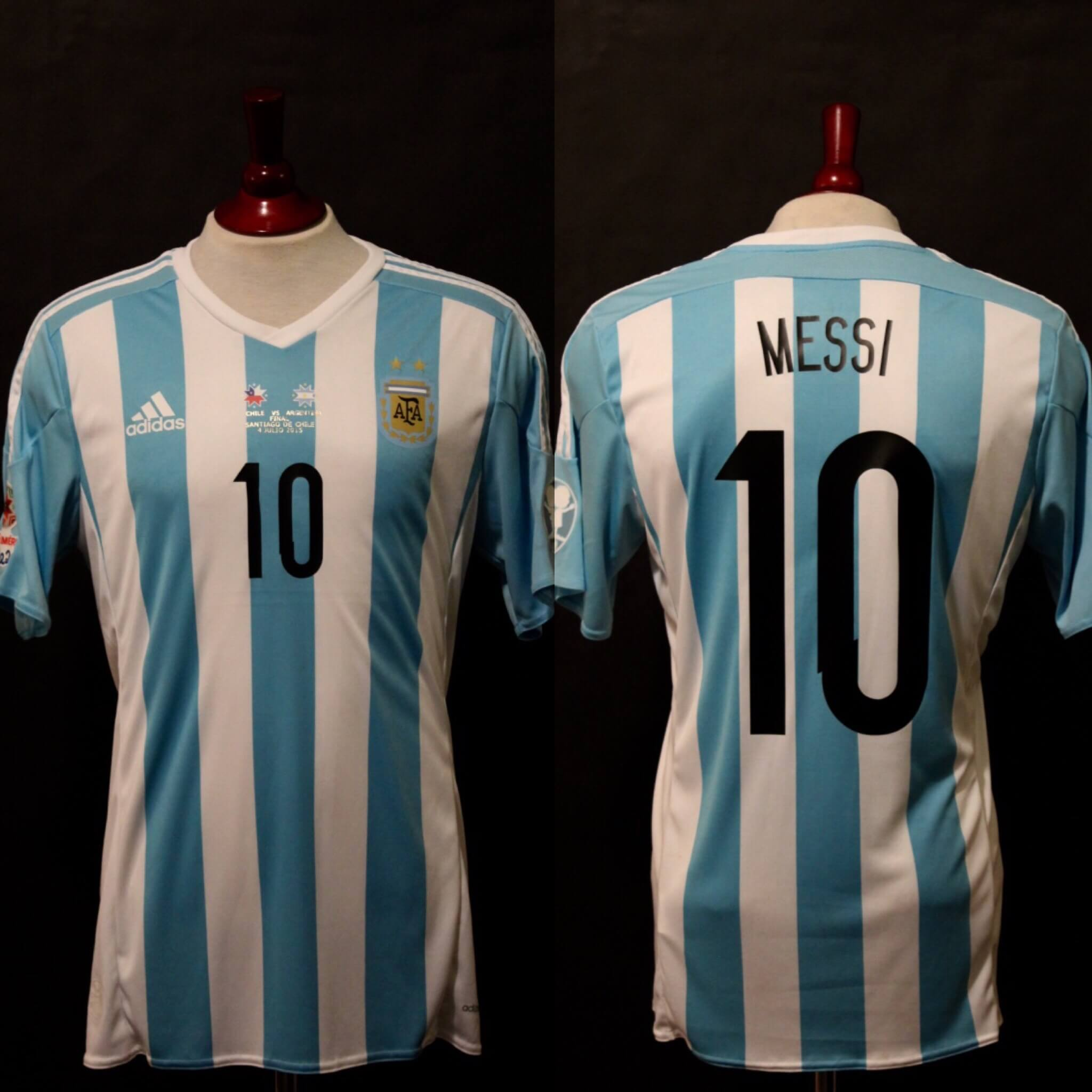 A Lionel Messi Game-Used #10 Argentina National Team Shirt.  2015 Copa America Finale (CHI v ARG).