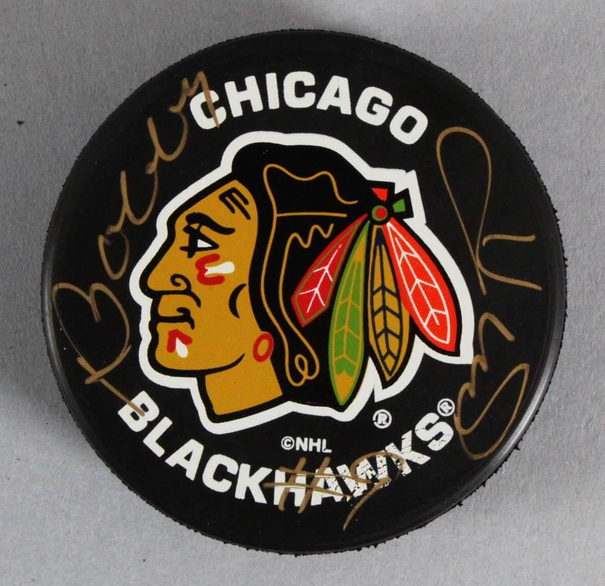 Hockey-nhl Coa Bobby Hull Autographed Chicago Blackhawks Hockey Puck