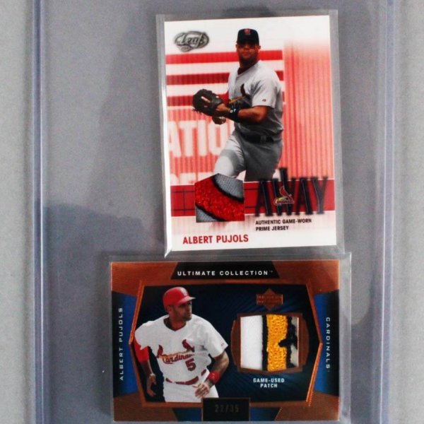 2003 Albert Pujols Game-Used Cardinals Jersey Card Lot of (2) Ultimate Collection & Leaf feat. Logo Patches