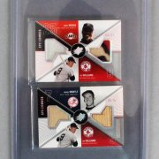 2003 Upper Deck SPX Combos Ted Williams / Mickey Mantle / Barry Bonds Game-Used Jersey Bat Card Lot