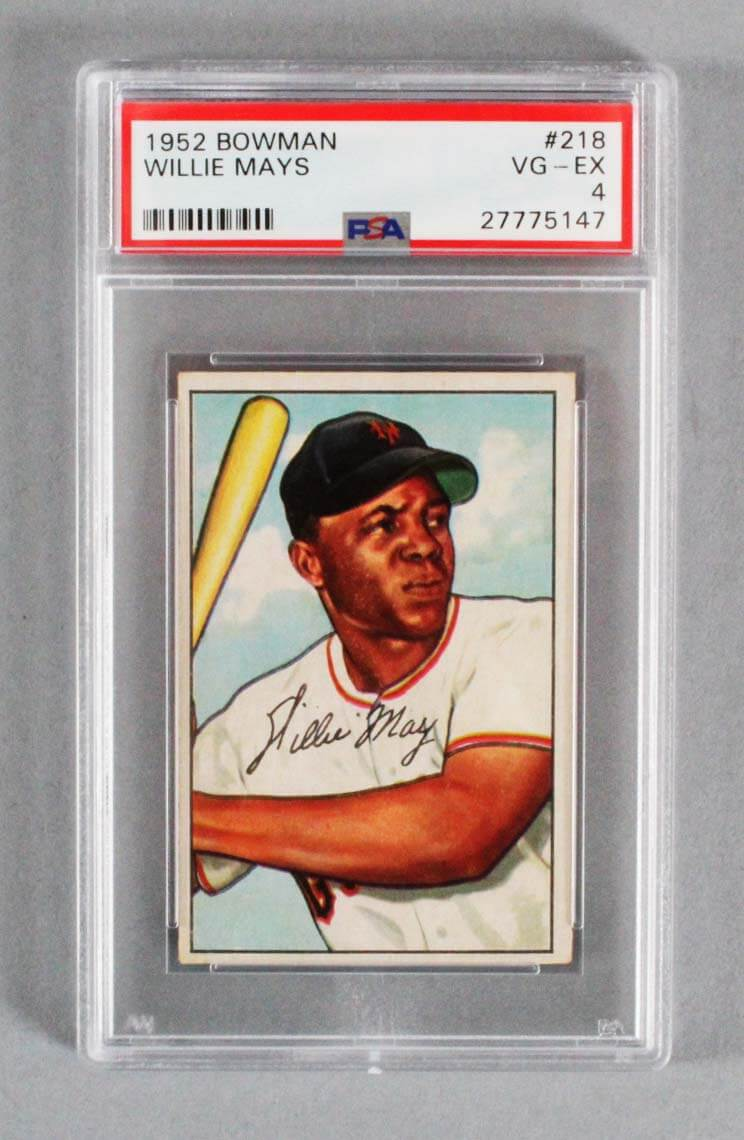 1952 Bowman Willie Mays Graded Baseball Card 218 Psa Vg Ex 4