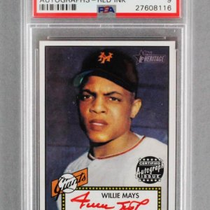 2001 Topps Heritage Willie Mays Signed Baseball Card - Giants Red Auto Graded PSA MINT 9