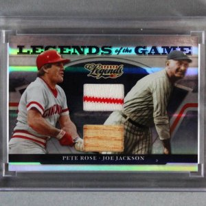 2008 Donruss Legends of the Game Pete Rose & Shoeless Joe Jackson Game-Used Bat & Jersey Card 36/100