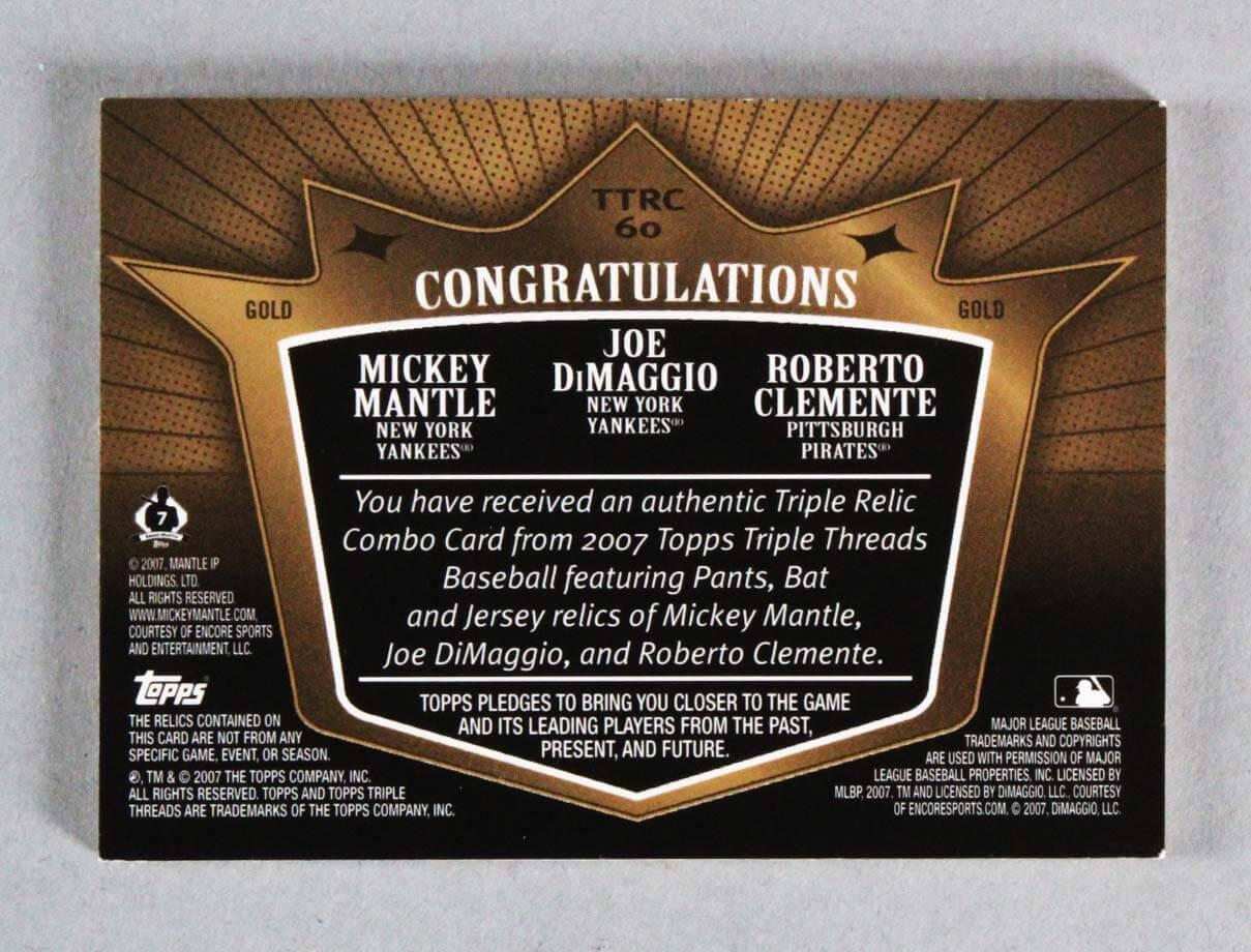 2007 Topps Triple Threads Relic Combos Card – Roberto Clemente, Joe  DiMaggio & Mickey Mantle 9/9   Memorabilia Expert
