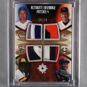 2007 UD Ultimate Collection Gwynn, Sandberg, Ripken, Jr. & Puckett Game-Used Jersey Card Quad Patch 10/10