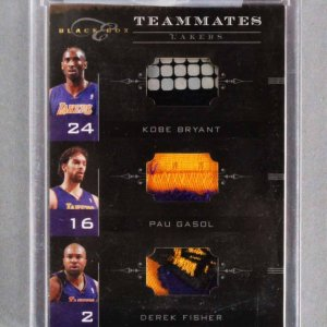 2011 Panini Black Box Kobe Bryant, Pau Gasol & Derek Fisher Card Lakers 15/49