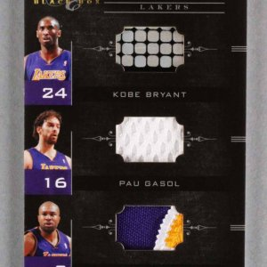 2011 Panini Black Box Kobe Bryant, Pau Gasol & Derek Fisher Card Lakers 28/49