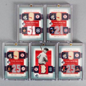 2003 SP Authentic Ted Williams Game-Used Jersey Card Lot (5) Splendid Swatch Pairs