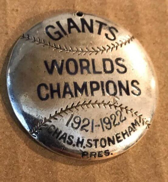 1923 New York Giants Season Pass Baseball By Lambert Brothers (Sterling Silver)
