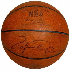 1998 Chicago Bulls NBA Finals Game-Used Basketball Signed by Michael Jordan