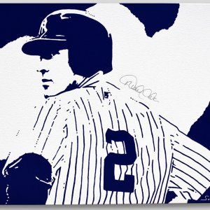 Signed Original Hand Painting On Canvas Derek Jeter COA 30x40 inches