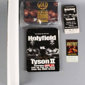 Don King Signed Mike Tyson vs. Evander Holyfield II Press Kit +Poster, Official T-Shirt Unopened & Ticket Stub - JSA