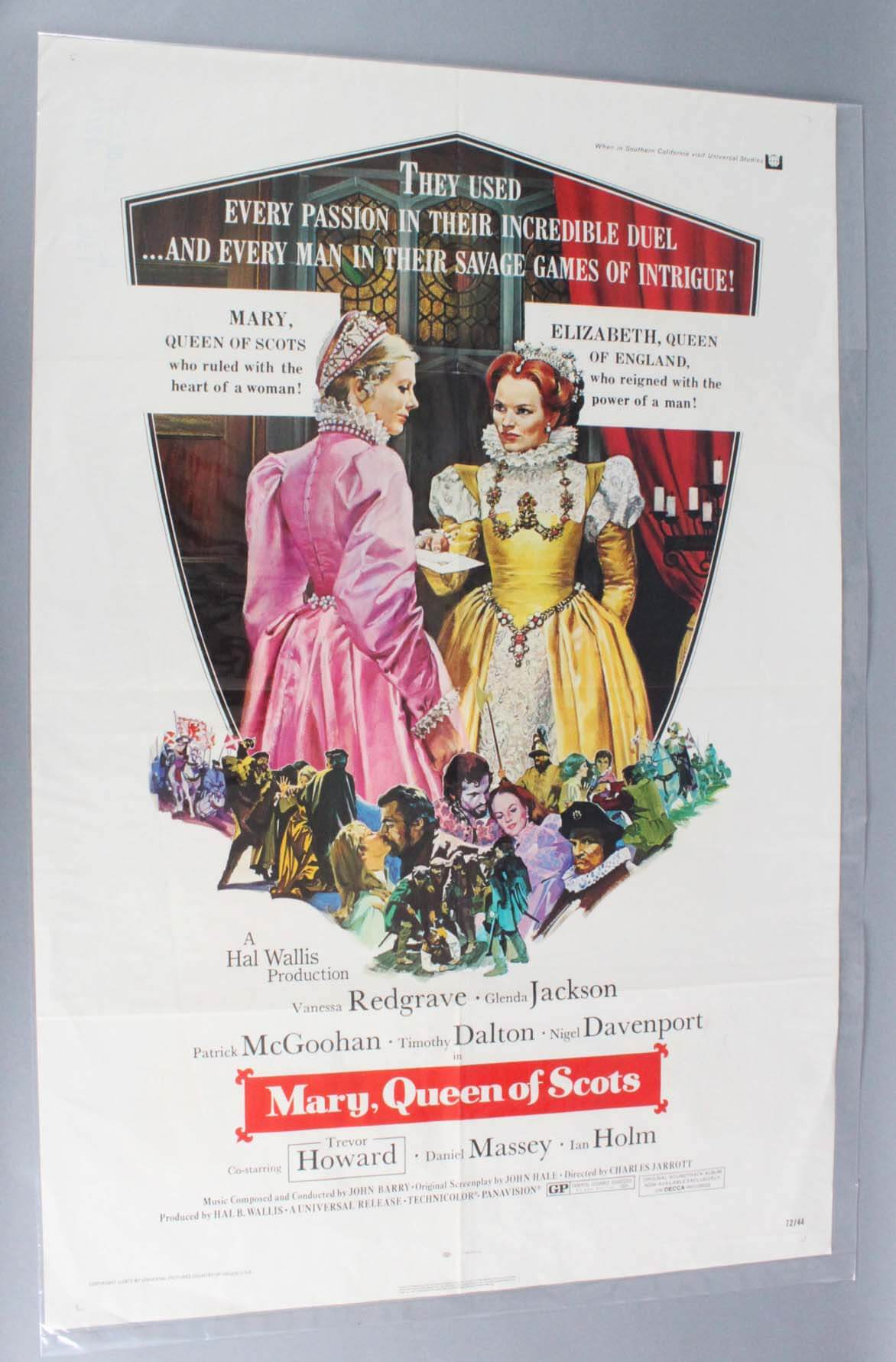 1972 MARY QUEEN OF SCOTS Movie Poster One Sheet -1sh VG Condition