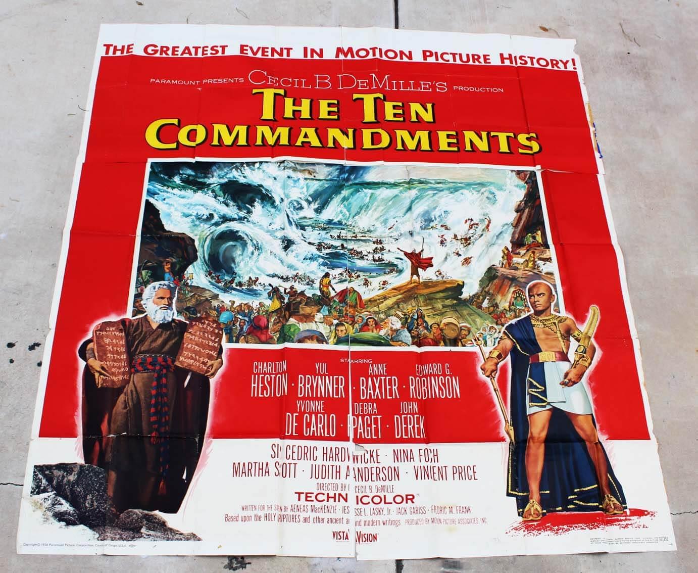 Original 1956 The Ten Commandments Movie Poster 6 sheet (81x81) 56/392