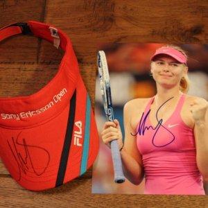 A Maria Sharapova Signed Visor & Signed Photograph.  WTA Sony Ericsson Open.
