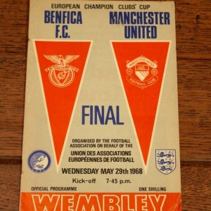 A Manchester United v. Benfica F.C. Official Match Programme.  May 29, 1968 European Cup Final.