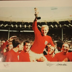 A Limited Edition Numbered (#202/500) England 1966 World Cup Photographic Print.  Signed by:  Cohen, Ball, Wilson.