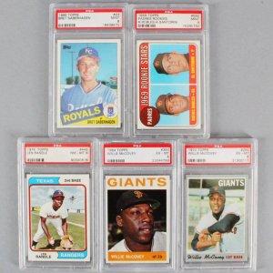 MLB Baseball PSA Graded Card Lot (5) - Bret Saberhagen, Willie McCovey, etc.