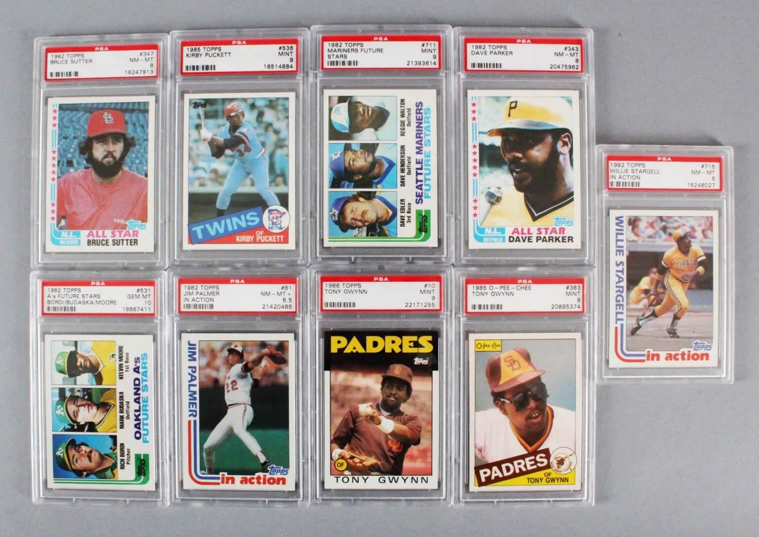 MLB Baseball PSA Graded Card Lot (9) - Kirby Puckett, Willie Stargell, etc.