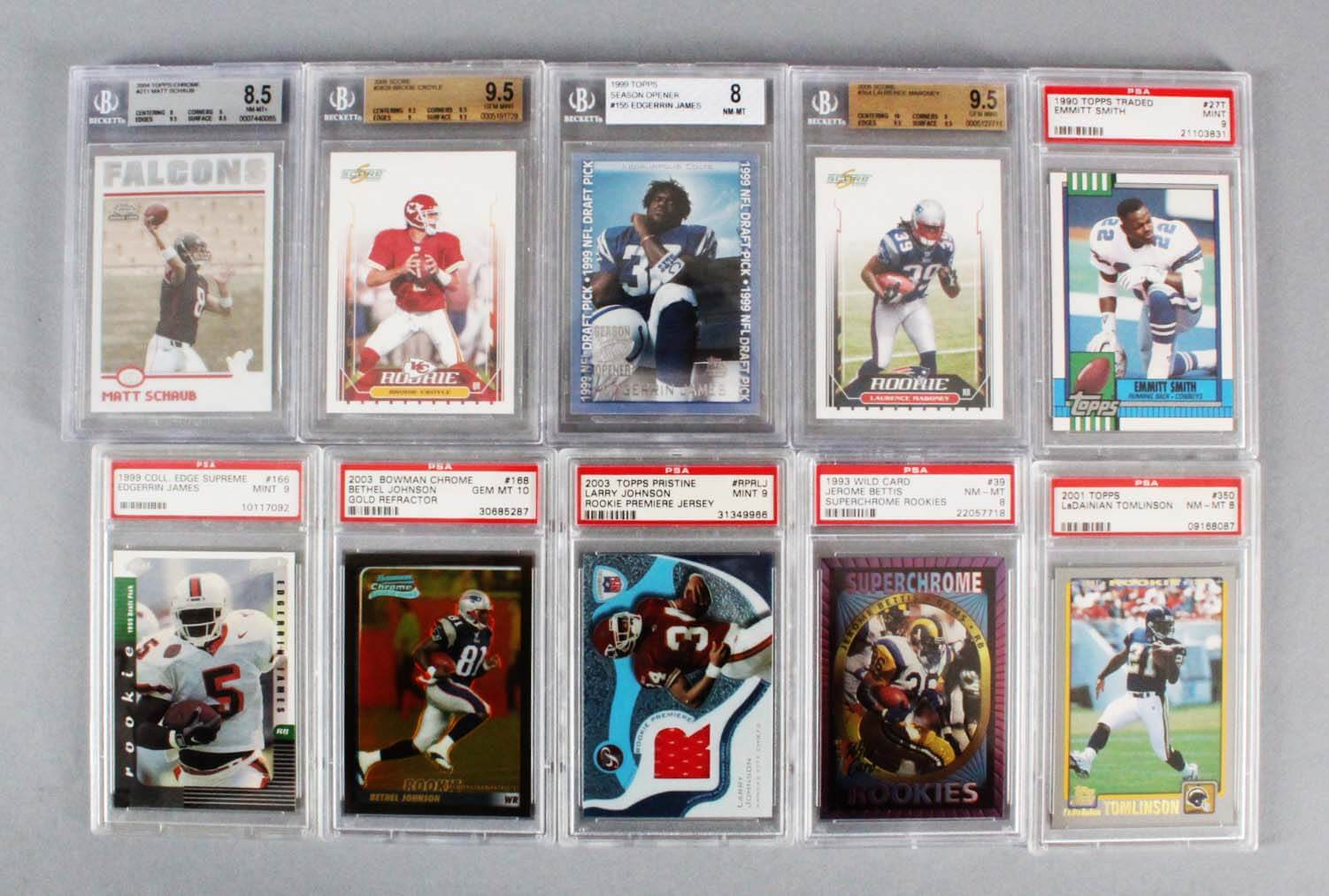 Nfl Football Graded Rookie Card Lot 10 Emmitt Smith Ladainian Tomlinson Etc