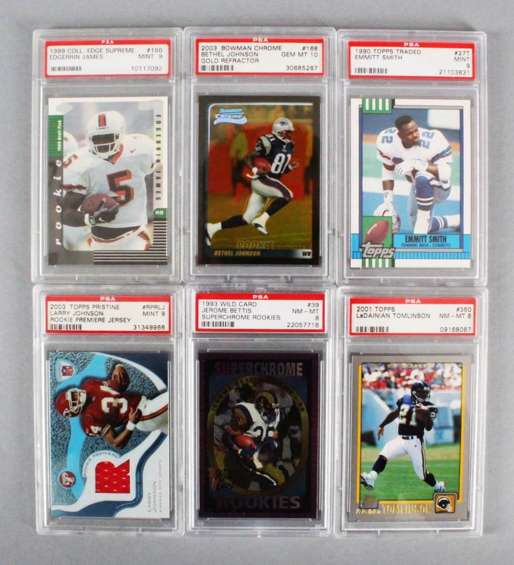 Nfl Football Graded Rookie Card Lot 10 Emmitt Smith Ladainian Tomlinson Etc Memorabilia Expert