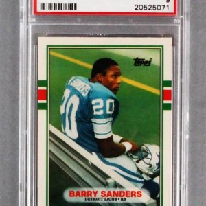 1989 Topps Traded Barry Sanders Graded Rookie Card - PSA MINT 9