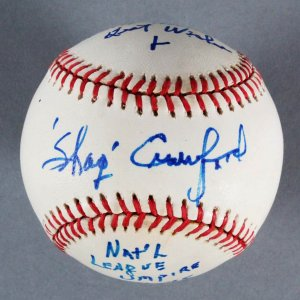 Shag Crawford MLB Umpire Signed  inscribed ONL Baseball - JSA