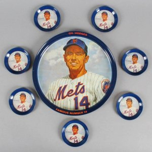 GIL HODGES 1973 METAL DRINK TRAY WITH 6 METAL COASTERS Set New York Mets