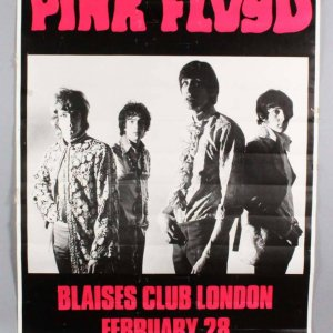 "Pink Floyd 38""x 54"" Early 1966-1967 Vintage Advertising Display Poster"
