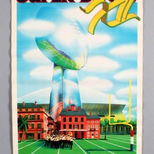 Super Bowl XII Poster AFC vs NFC For the NFL Championship and Vince Lombardi Trophy