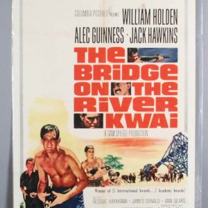 BRIDGE ON THE RIVER KWAI One Sheet 1sh R1963 William Holden with gun, David Lean WWII classic
