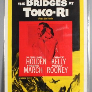 BRIDGES AT TOKO-RI One Sheet Movie Poster 1sh R59 Grace Kelly, William Holden, Korean War, by James Michener