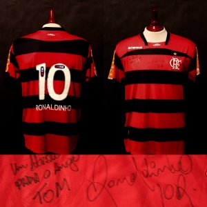 A Ronaldinho Game-Used & Signed Flamengo Home Shirt.  8/6/2011 v. Coritiba --- 8/10/2011 v. Atletico PR