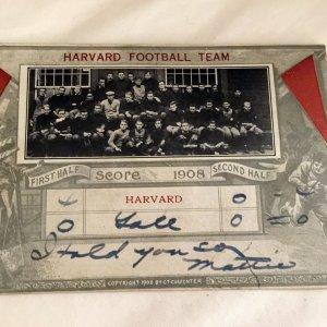 Harvard University Football Team Photo Postcard 1908