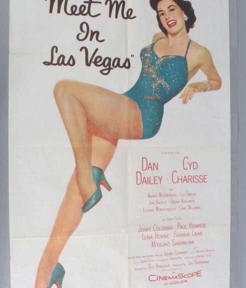 MEET ME IN LAS VEGAS Movie Poster One Sheet (1sh) 1956- 56/75- VG-EX
