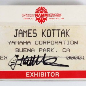 James Kottak Scorpions Signed 1990 NAMM Exhibition Convention Music Show Pass