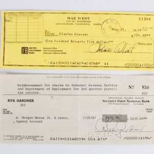 Ava Gardner & Mae West Signed Personal Checks - COA JSA