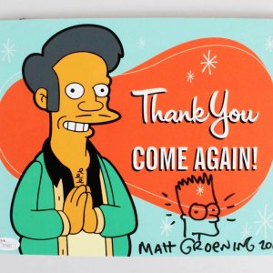 "2004 Matt Groening Signed Bart Simpson Sketch on Apu ""Thank You Come Again"" Sign - JSA Full LOA"