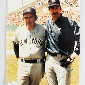 Yogi & Dale Berra Signed Photo Yankees - COA JSA