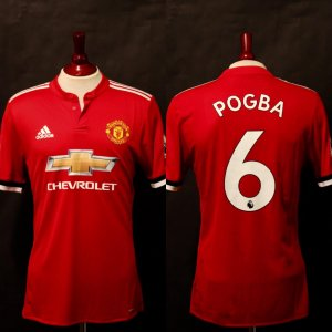 A Paul Pogba Game-Used & Unwashed #6 Manchester United Home Shirt.  2017/18 English Premier League.