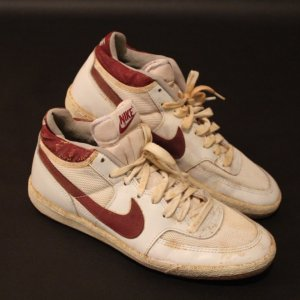 A Pair of John McEnroe Game-Used Nike Tennis Shoes.  Circa 1983.  Includes Signed Photograph.