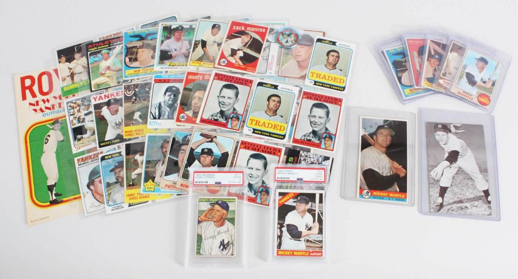 New York Yankees Vintage Baseball Card Lot (63) - Mickey Mantle, Roger Maris, Lou Gehrig etc.