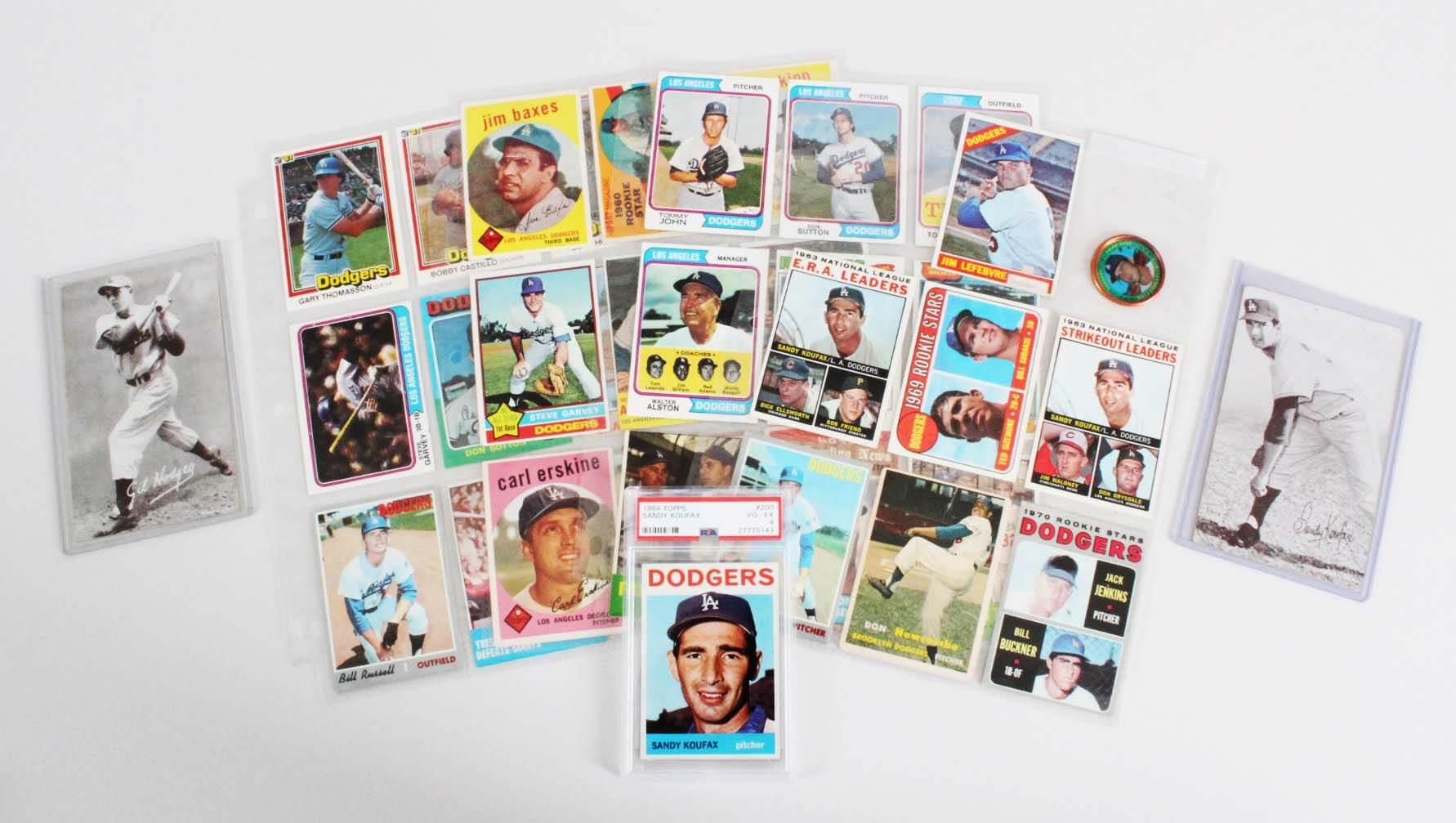 Los Angeles Dodgers Vintage Baseball Card Lot (35) - Sandy Koufax Graded Card, etc.
