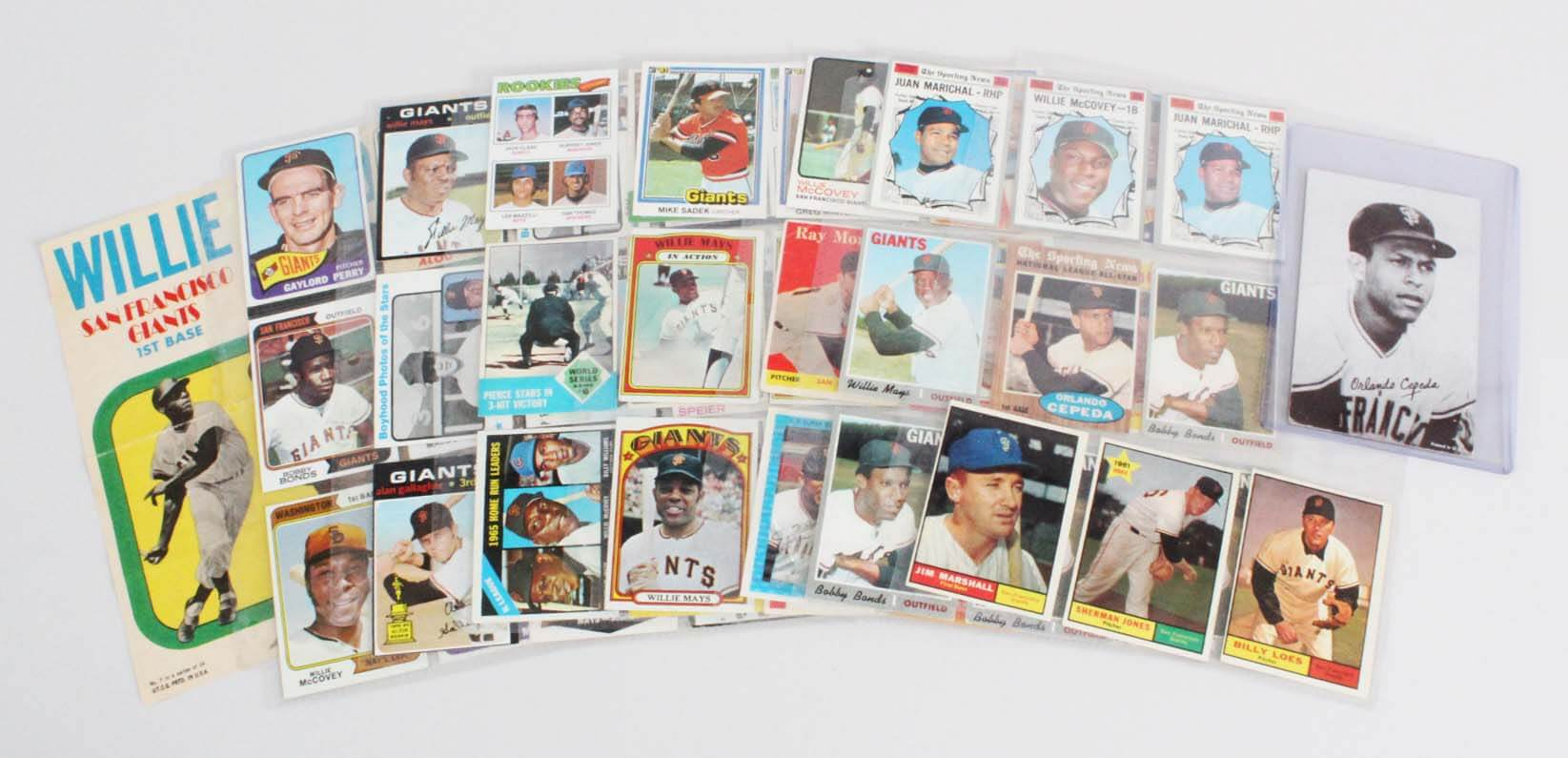 San Francisco Giants Vintage Baseball Card Lot (57) - Willie Mays, Willie McCovey, etc.