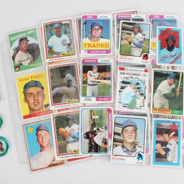 Chicago Cubs Vintage Baseball Card Lot (37) - Ernie Banks, Fergie Jenkins, etc.