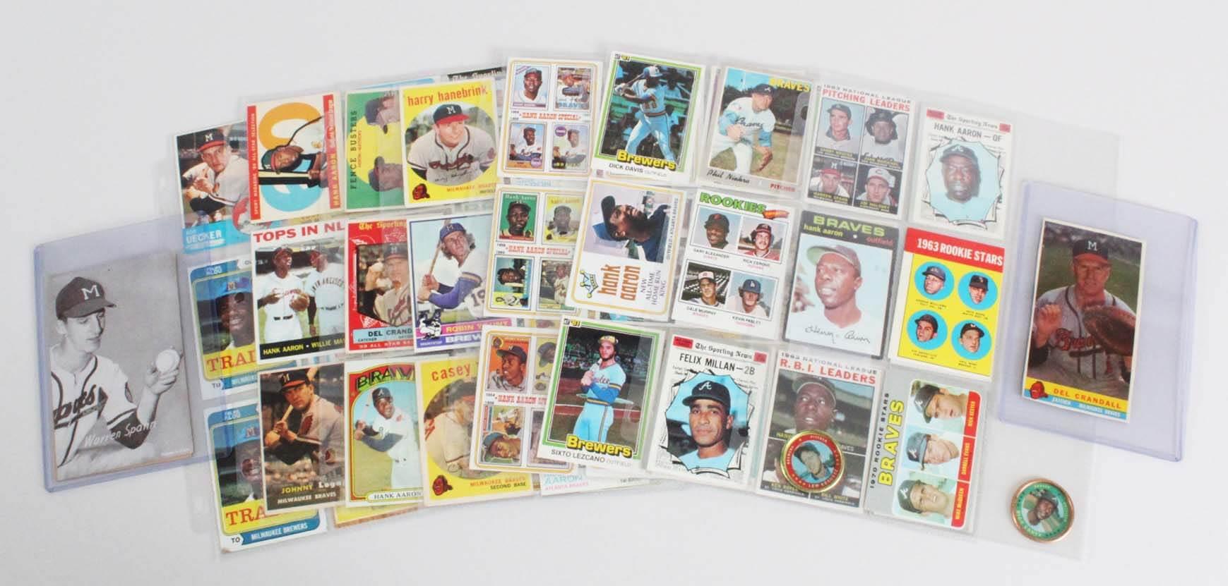 Milwaukee Brewers Atlanta Braves Baseball Card Lot (65) - Hank Aaron, Robin Yount, etc.