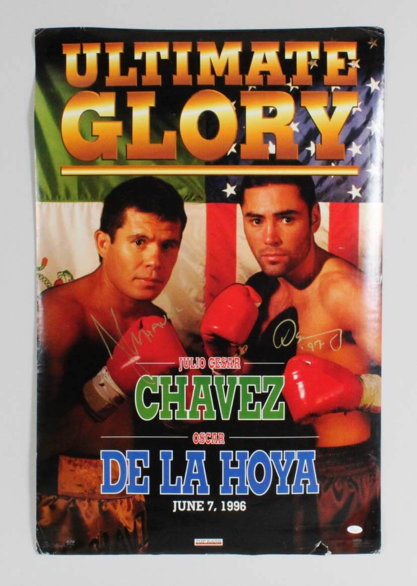 June 7, 1996 Oscar De La Hoya vs. Julio Cesar Chavez Signed Fight Poster - COA JSA