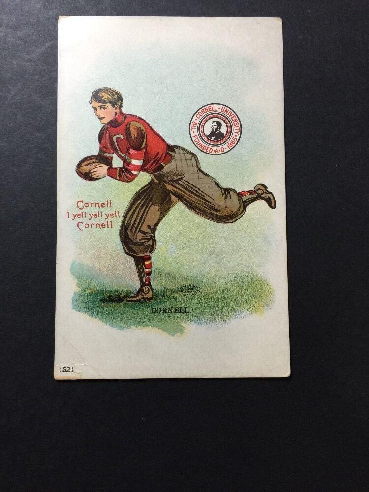 CORNELL UNIVERSITY 1905 Postcard Football Player