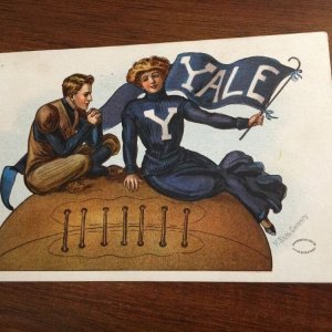 YALE University F. Earl Christy Signed Antique 1910 FOOTBALL Postcard
