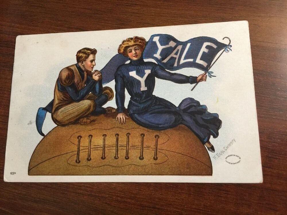 YALE University F. Earl Christy Signed Antique 1910 FOOTBALL Postcard